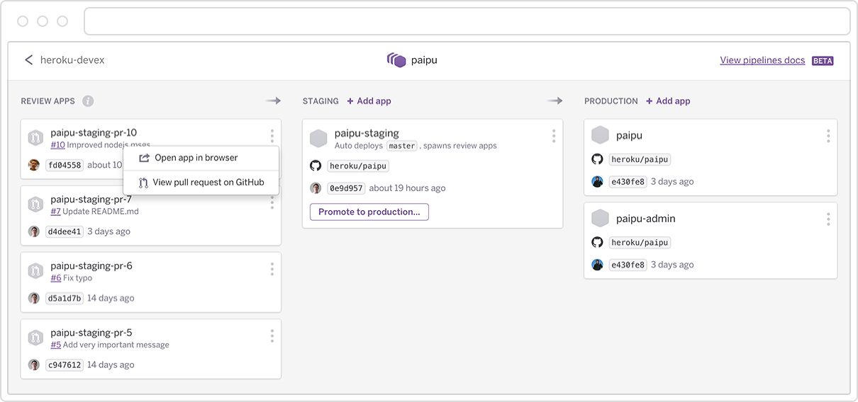 Introducing Heroku Flow: Pipelines, Review Apps, and GitHub Sync for Continuous Delivery