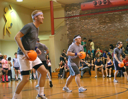 playing dodgeball