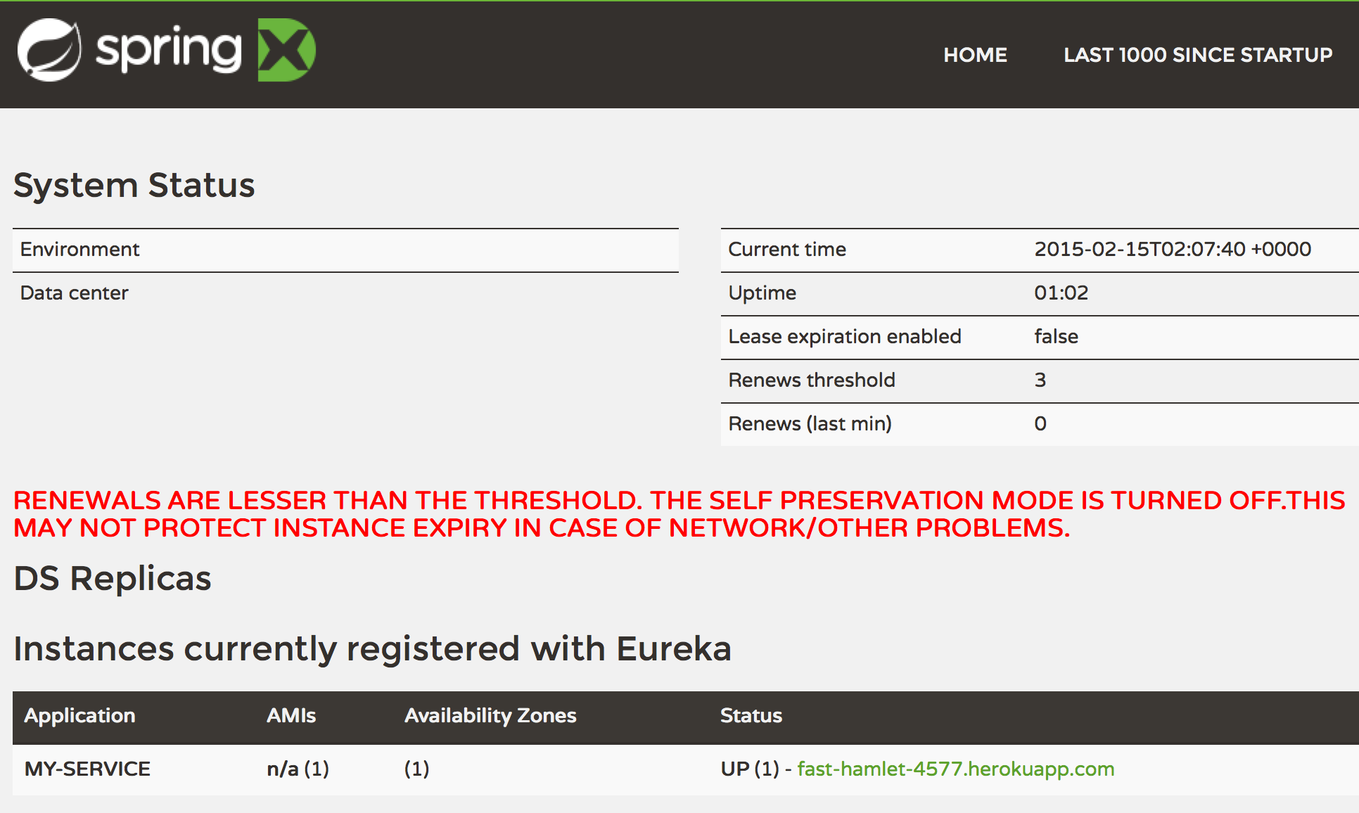 Eureka dashboard with client