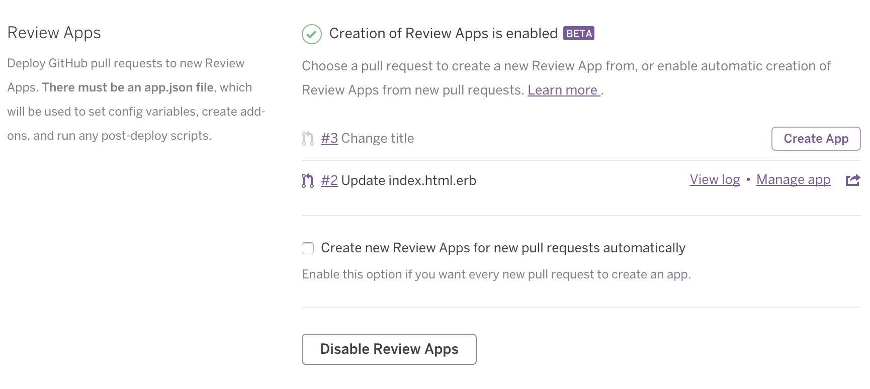 Review apps in Dashboard