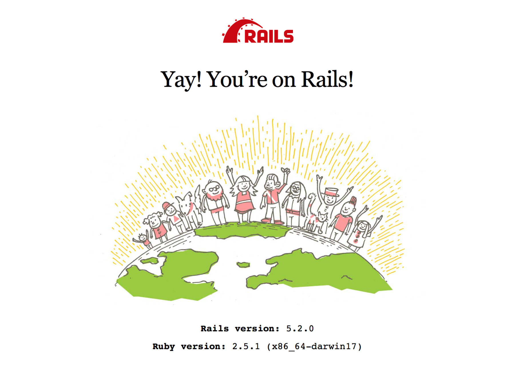 The initial Rails page, showing version 5.2.0