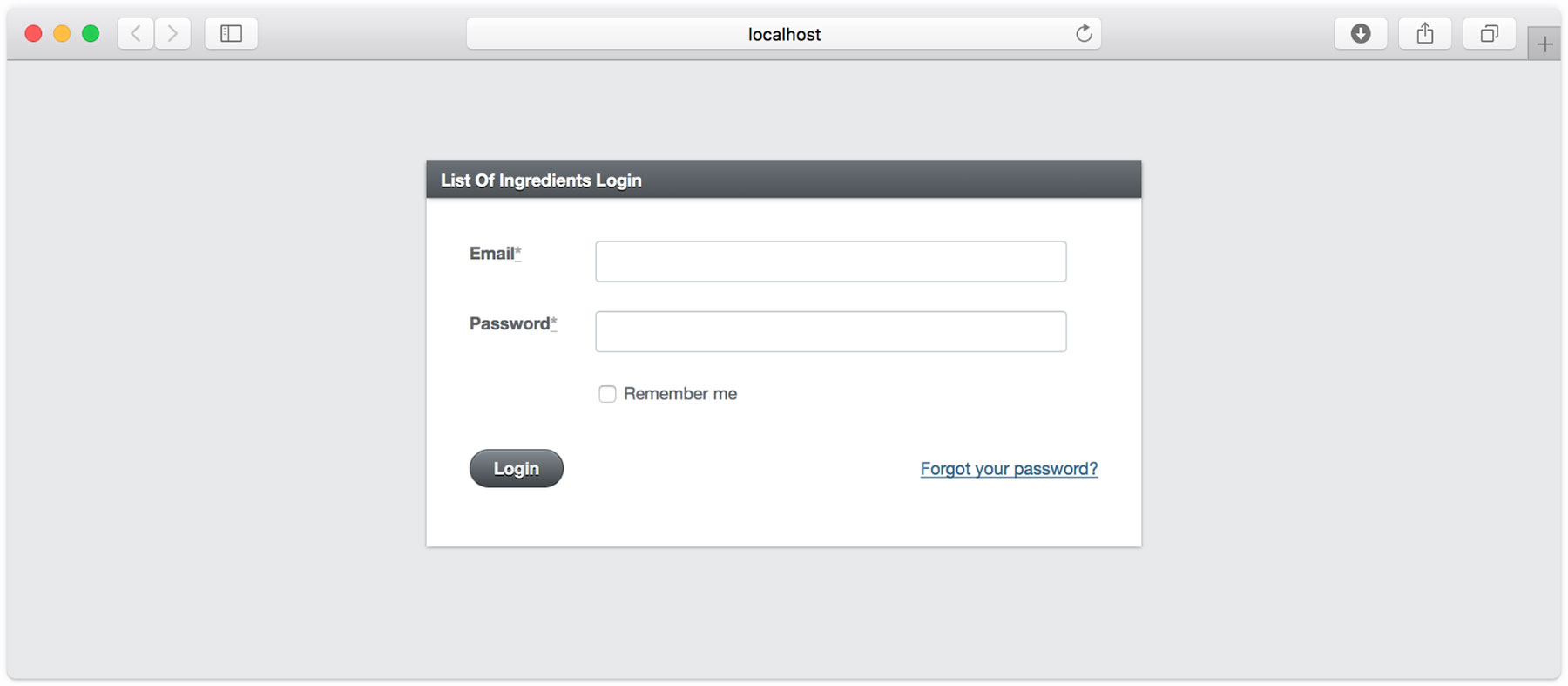 The ActiveAdmin login page