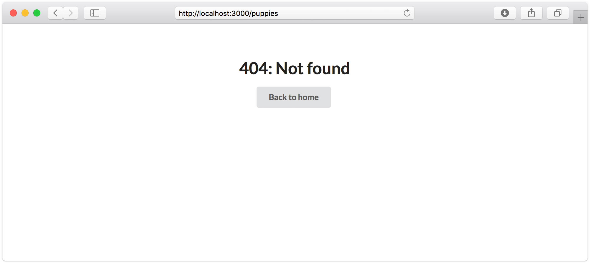 An example of the 404 page