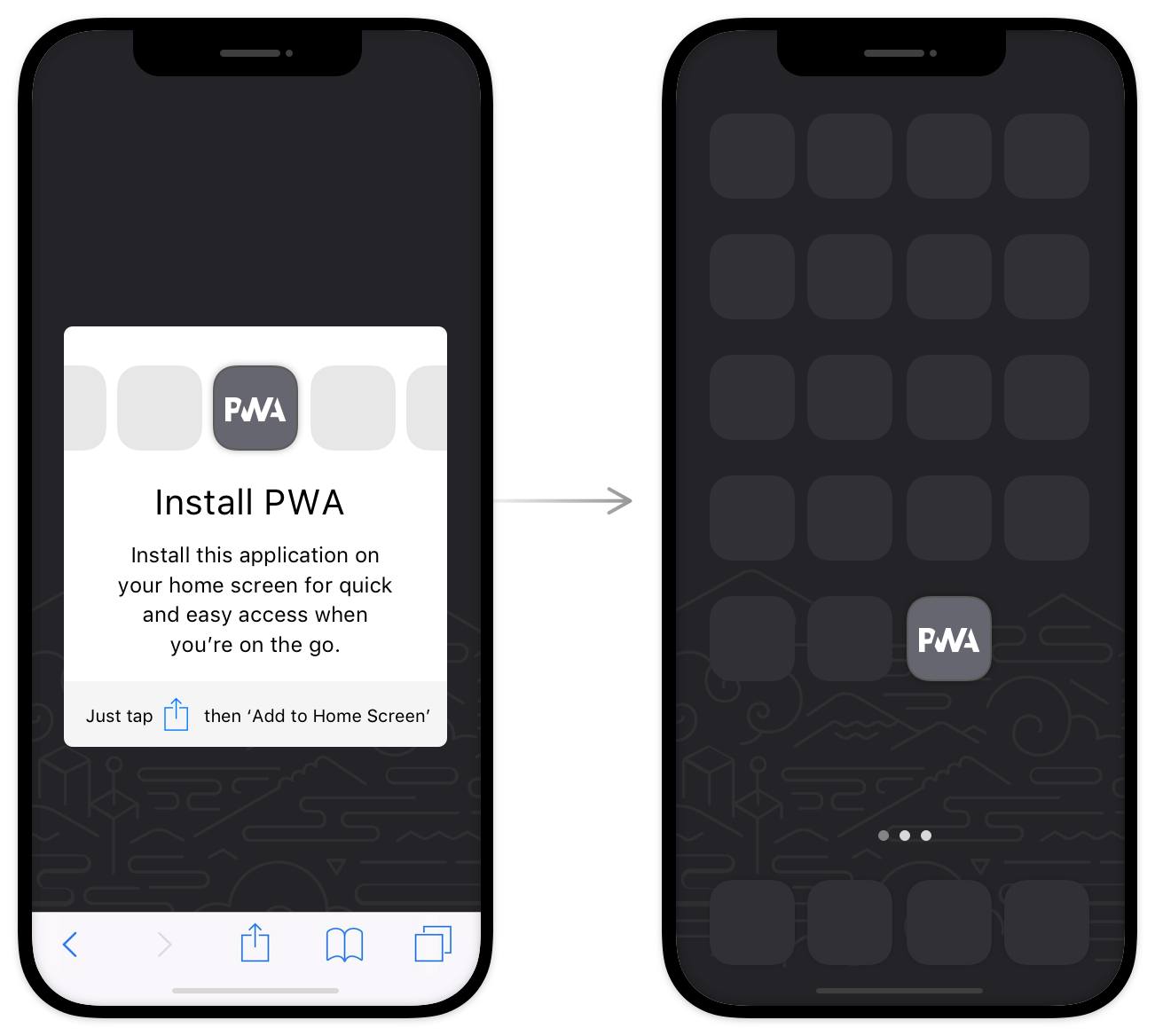 An image showing what installing a progressive web app might look like.