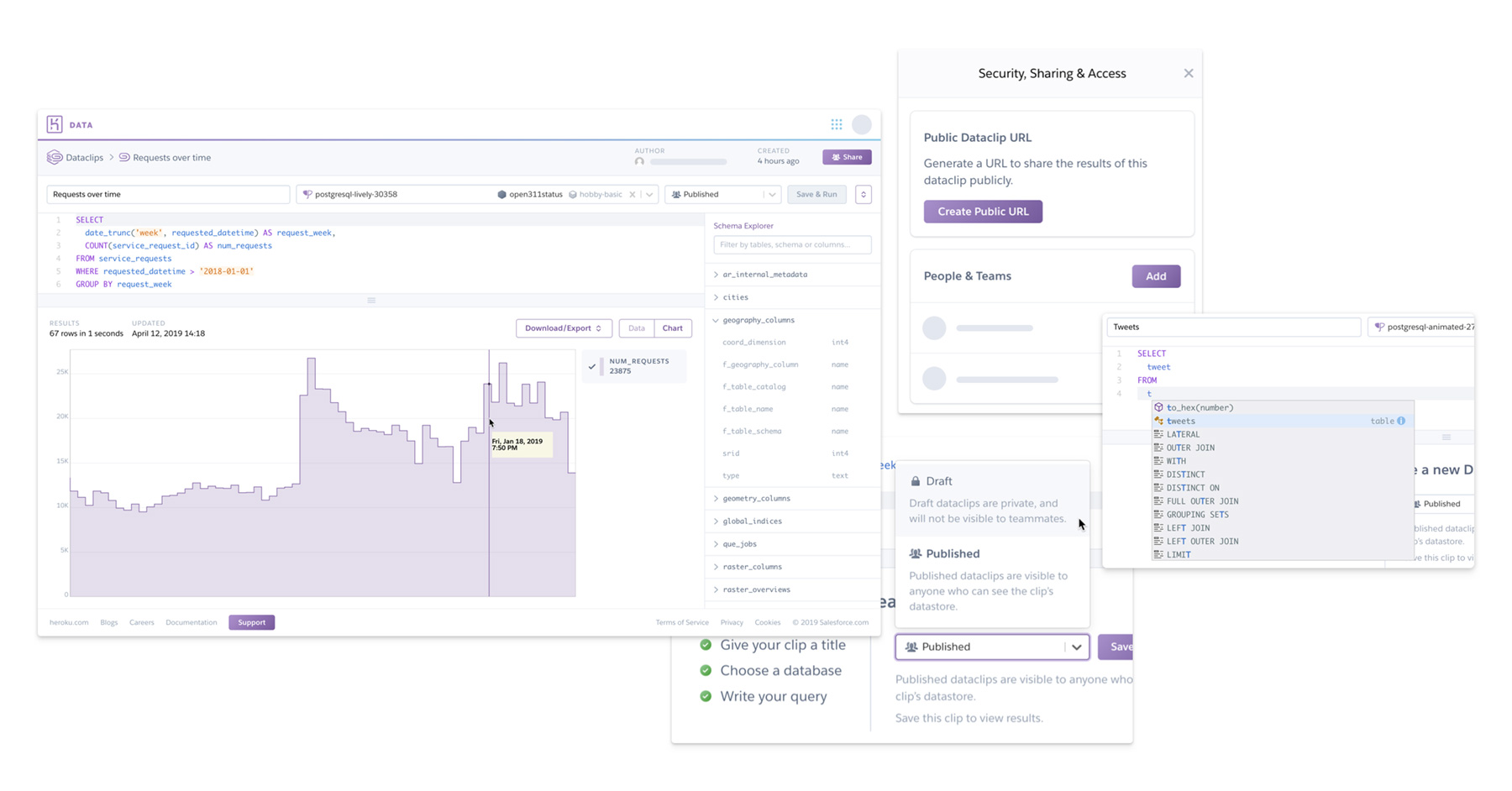 An image showing different views of the Heroku Dataclips GUI