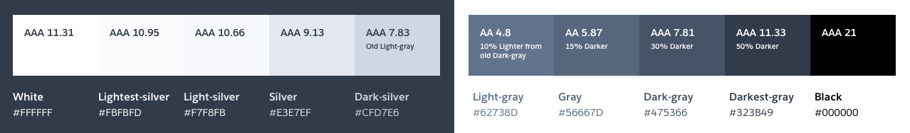 Final complete grayscale palette proposal with all the proposed changes