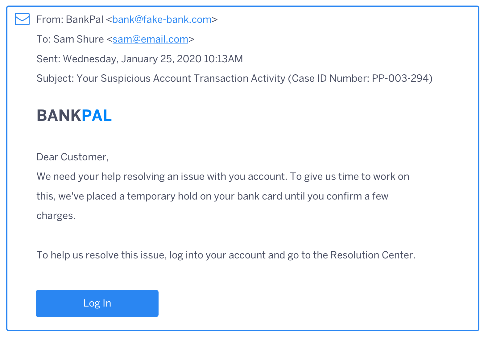 BankPal Cross-Forgery Email