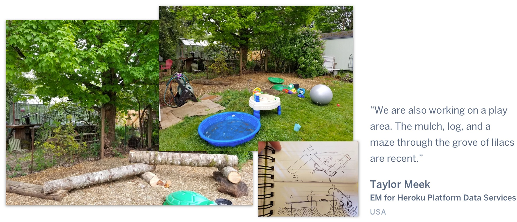 "Another backyard with a play area, with the quote ""We are also working on a play area. The mulch, log, and a maze through the grove of lilacs are recent."" Taylor Meek, EM for Heroku Platform Data Services, USA."