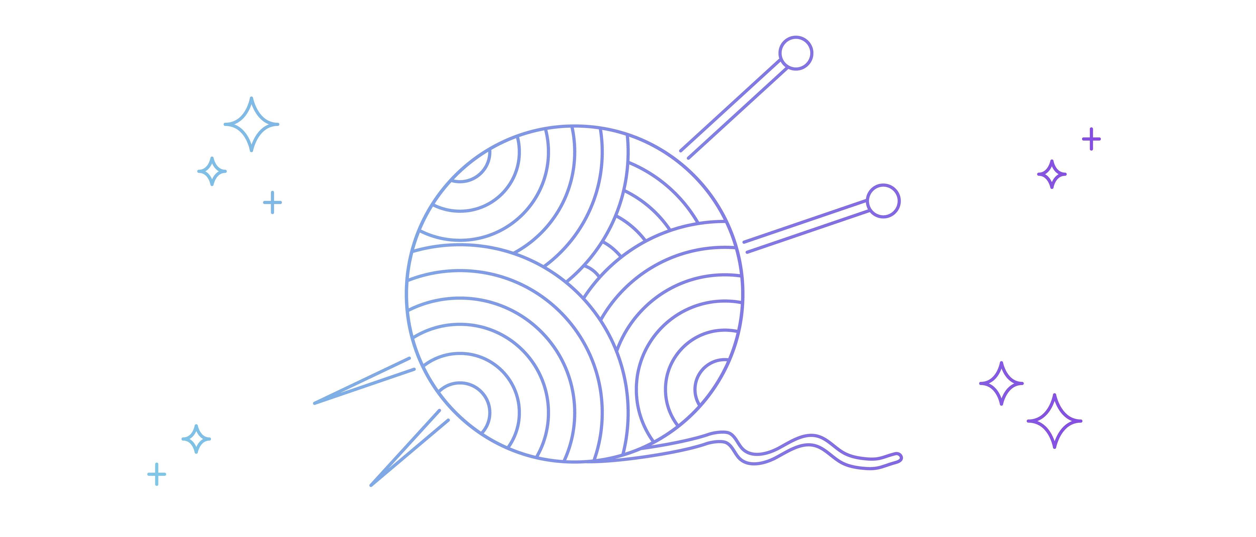 Ball of yarn and knitting needles illustration